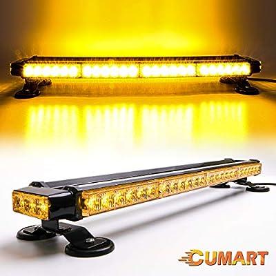 """CUMART 26.5"""" Amber Yellow 54 LED Light Bar Double Side Emergency Warning Flash Strobe Light Traffic Advisor with Magnetic Base (26.5"""" 54LED, Amber/Yellow)"""