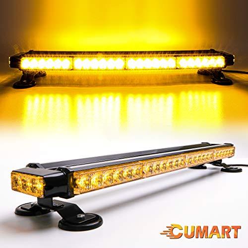 """CUMART 26.5"""" Amber Yellow 54 LED Light Bar Double Side Emergency Warning Flash Strobe Light Traffic Advisor with Magnetic Base (Amber/Yellow, 26.5"""" 54LED)"""