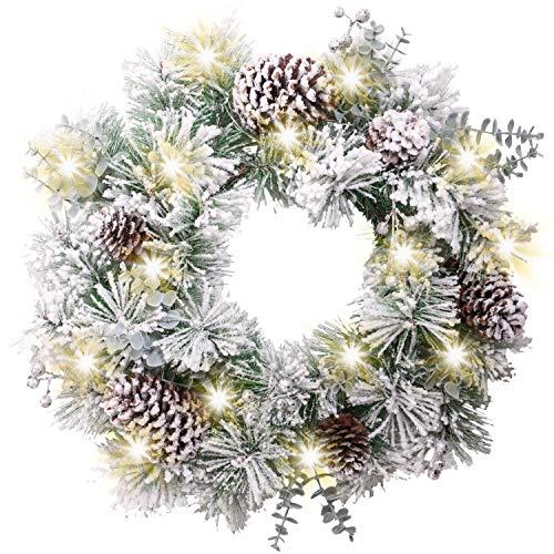 Valery Madelyn Weihnachtskranz 50cm mit 20 LED Beleuchtet batteriebetrieben Türkranz Adventskranz aus PVC mit Timer Funktion Kunstschnee Weihnachtsdeko Kranz für Tür Grün Silber MEHRWEG Verpackung