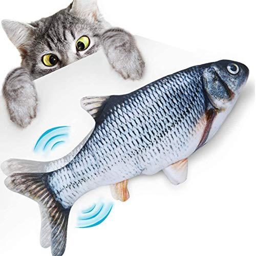 elloLife Elektrisch Spielzeug Fisch, Katzenspielzeug Fisch Simulation mit USB Charge mit Katzenminze Kauen für Katze zu Spielen, Beißen, Kauen und Treten Interaktives Spielzeug für Haustiere