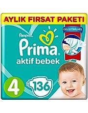 Prima Bebek Bezi Aktif Bebek 4 Beden Fırsat Paketi 9-14 kg 136'li