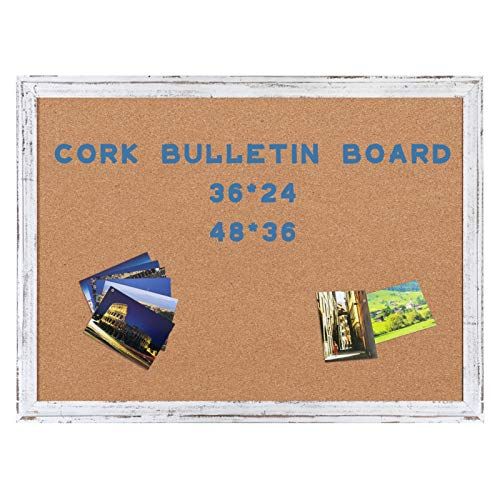 AMUSIGHT Cork Board with White Rustic Frame, Bulletin Board for Wall, 36 x 24 Inches, Perfect for Home , School, Office