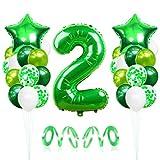2 Globos de Cumpleaños, Globo 2 Año, Globo Numero 2, Decoracion Cumpleaños Niño, Globos Grandes Gigantes Helio Verde, Globos para Fiestas de Cumpleaños