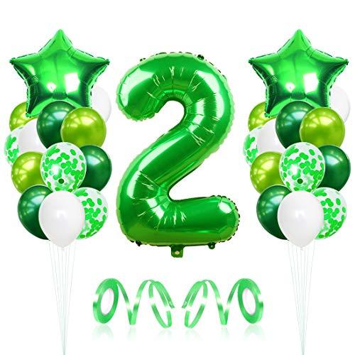 2 Globos de Cumpleaños, Globo 2 año, globo numero 2, Globos Grandes Gigantes Helio Verde, Globos para Fiestas de Cumpleaños