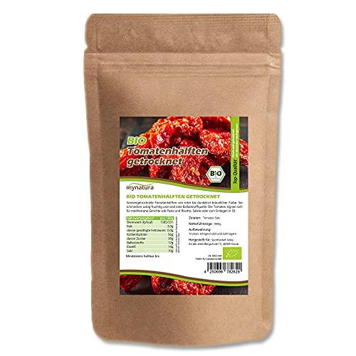 Mynatura Bio Tomatenhälften getrocknet I Tomaten halbiert I Sonnengetrocknet I Pflanzlich I Naturprodukt I Salat-Tomaten I Beutel (1000g)