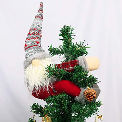 KINNJAS Christmas Tree Topper Gnome - Hand Made Gnome Christmas Decoration, Funny Christmas Tree Topper, Also be Used as Curtain Tie, Unique Christmas Gnome Decoration