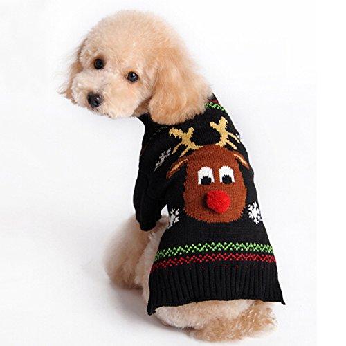 ZHONGGEMEI Suéter de Navidad para perro, cachorro, gato, ropa de invierno para perros, cachorro, gatito, gatos (alce negro, S)