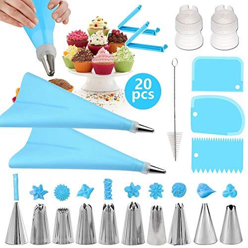 Geoyien Boquillas para Manga Pastelera, 10 boquillas de acero, 2 Bolsas de pastelería, 3 raspador más suave para glaseado, 2 clips de bolsa, 2 acopladores de manga pastelera y 1 cepillo, Azul