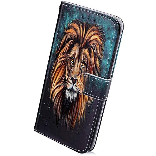 Herbests Kompatibel mit Samsung Galaxy S20 Ultra Handyhülle Lederhülle Retro Bunt Ledertasche Brieftasche Schutzhülle Klapphülle Kartenfach Bookstyle Handytasche Etui mit Magnet,Löwe