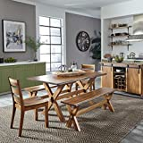 Forest Retreat Trestle Dining Table, 2 Benches & 2 Chairs by Home Styles