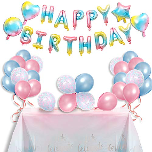 kortes Birthday Party Balloons Decoration, Happy Birthday Banner for Birthday Decorations for Girls/Boys Perfect Rainbow Party Supplies