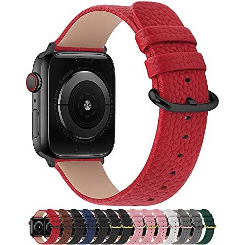 Fullmosa Cinturino per Apple Watch 38 mm/40 mm, Cinturino Pelle Compatibile con Apple Watch Serie SE 6 5 4 3 2 1, Sport, Nike+, Hermès, Edition, Rosso + Fibbia Grigia fumé