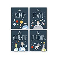 """Unframed Inspirational Art Print, Outer Space Planet Wall Art Painting,Set of 4(8"""" x10"""" ) Be Kind Be Brave Be Curious Be Yourself Quote Canvas Posters for Boys Bedroom Nursery Decor"""