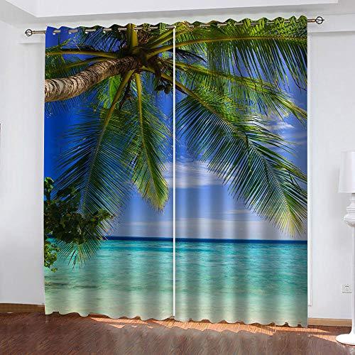 LOVEXOO Verdunkelungsvorhänge Wohnzimmer Modern 2er-Set Strand & Palmen Gardine für Kinderzimmer Schlafzimmer Schlafzimmer 168B x H229cm