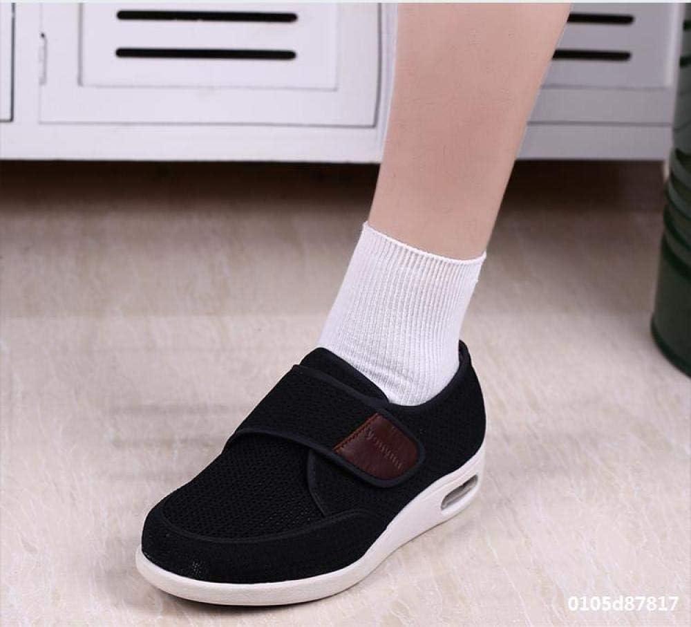 ZR1LZ Lässige Segeltuchschuhe,Lose alte Schuhe, geschwollene Fußschuhe, verstellbare Klettschuhe, Diabetesschuhe, verbreiterte orthopädische Schuhe - Dunkelbraun_42 Black ohhhW