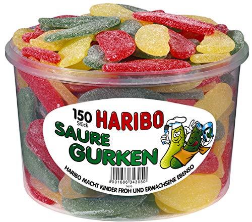 HARIBO - Saure Gurken - Weingummi/Fruchtgummi - Box mit 150 Stück