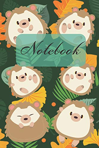 "Notebook: Cute Hedgehog And Leaf - Diary / Notes / Track / Log / Journal , Book Gifts For Women Men Kids Teens Girls Boys 6x9"" 120 Pages"