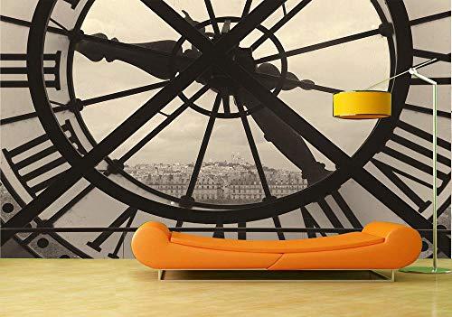 Fototapete Schwarzweißfoto der mechanischen Uhr 3D Fototapete Hintergrund des Wohnzimmersofas TV-Fresko 200×150cm