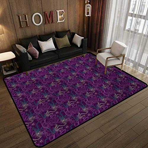 All-Match Floor mat,Art Pattern with Octopus Jellyfish Marine Plants and Seaweed,Non-Slip Decoration of Floor mats for Patio Doors Dark Purple Turquoise Pale Green 6'x9'(180x270cm)