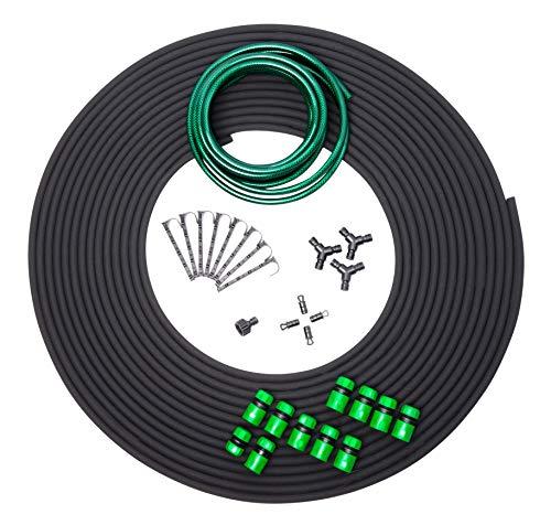 UPP Tropfschlauch Bewässerungsset| Komplettes Bewässerungssystem für Tröpfchenbewässerung mit 30 m Perlschlauch| Verzichten Sie auf Rasensprenger und Bewässern Sie direkt an der Wurzel