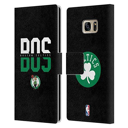 Head Case Designs Ufficiale NBA Tipografia 2019/20 Boston Celtics Cover in Pelle a Portafoglio Compatibile con Samsung Galaxy S7 Edge