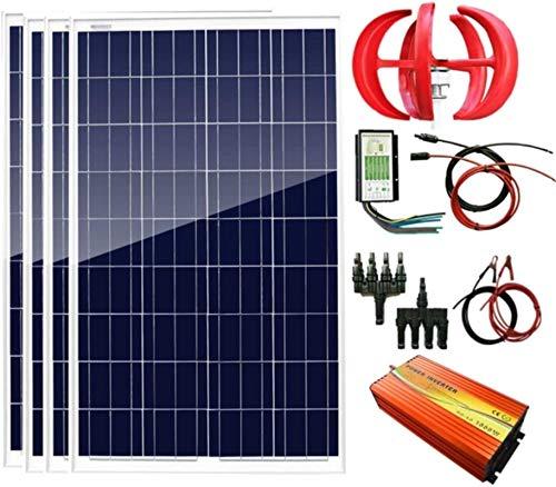Turbina de Viento, 700W 12V Energía Eólica Solar: 1pcs panel solar 100W Poli turbina de 12V / 24V 300W generador de viento 4pcs + + + regulador híbrido 1500W inversor de la energía (pico 3000W) + Acce