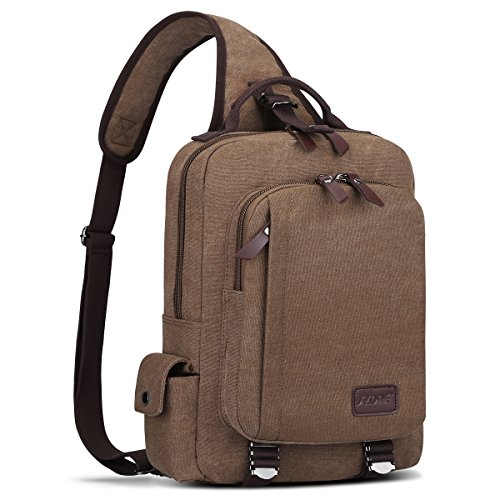 S-ZONE Men s 13 Inch Laptop Single Chest Shoulder Diagonal Gym Backpack Sack Satchel Outdoor Crossbody Pack (Coffee)