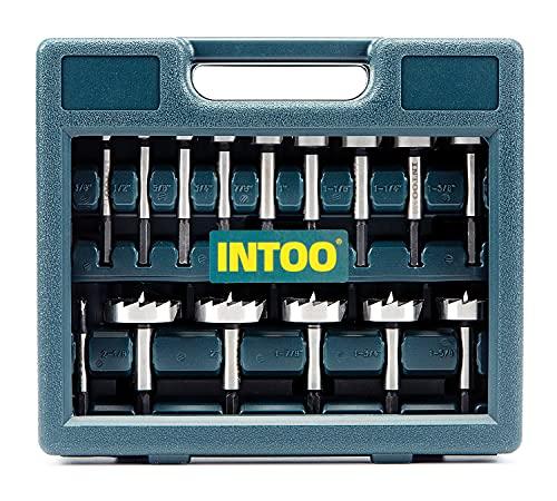 INTOO Hex Shank Forstner Bit Set 16 pcs Multi Sided Shank Wood Drill bit Set