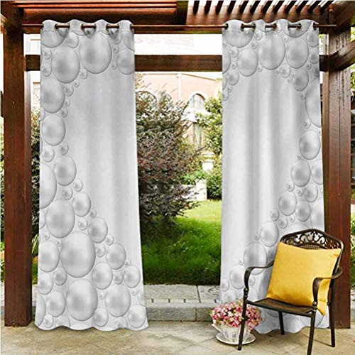 Pearls Patio Outdoor Curtain Thermal Insulated Blackout Outdoor Gazebo Pool Frame with Pearls in Heart Shape Stylish Bridal Accessories Monochromic Artwork Print White 96'W by 72'L(K245cm x G183cm)