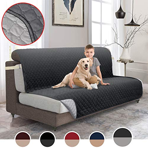 MOYMO Reversible Futon Cover, Durable Futon Slipover with 2 Inch Strap, Futon Protector with Pockets, Machine Washable Futon Covers for Dogs, Children, Pets,Kids(Futon:Dark Grey/Beige)