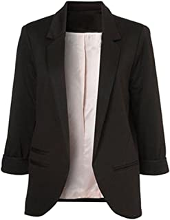 Women Casual Rolled Up 3/4 Sleeve Open Front Office Blazers Jacket Suits