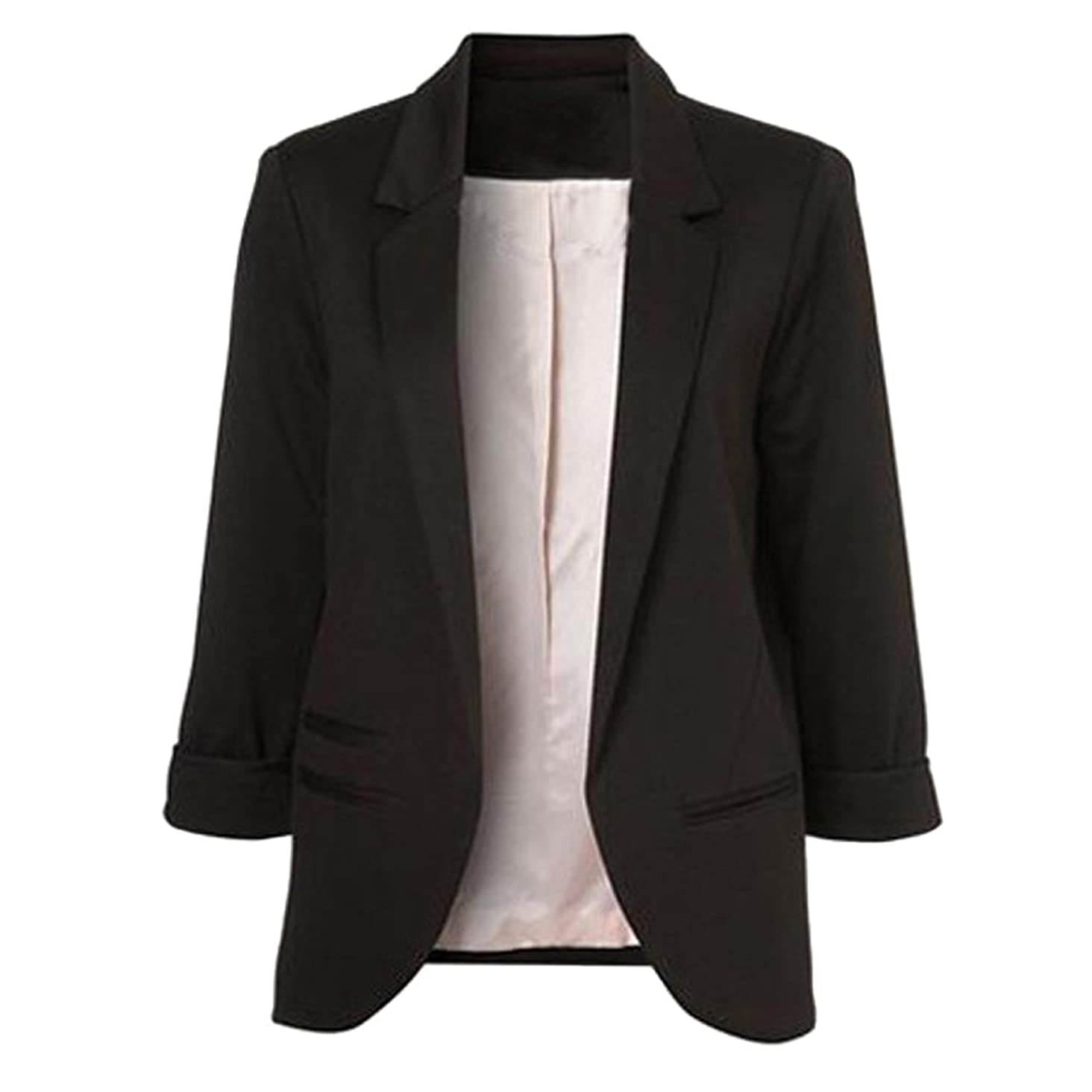 Jessica CC Women's 3/4 Sleeves Open Front Blazer Jacket Work Office Casual Blazer Suit with Pockets