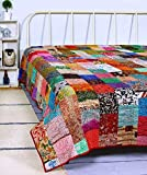 Womencrafts Indian Patchwork Kantha Quilt,Throw Handmade Silk Patola Kantha Bed Cover,King Size Reversible Bedding Bedspread,Vintage Hand Stitch Gudri, Decorative Beach Blanket (Multi -Color)