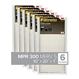 Filtrete 10x20x1, AC Furnace Air Filter, MPR 300, Clean Living Basic Dust, 6-Pack (exact dimensions 9.81 x 19.81 x 0.81)
