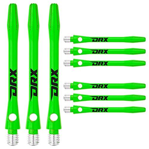 RED DRAGON DRX Coated Aluminium Medium Green Logo Dart Stems (Shafts) - 2 Sets per Pack (6 Stems in total)