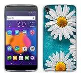 FUBAODA One Touch Idol 3(5.5 inch) Hülle Hülle, [Weiße Chrysanthemen] for für Alcatel One Touch Idol 3(5.5 inch) Silikon TPU Premium Handyhülle Slim für Alcatel One Touch Idol 3(5.5 inch)