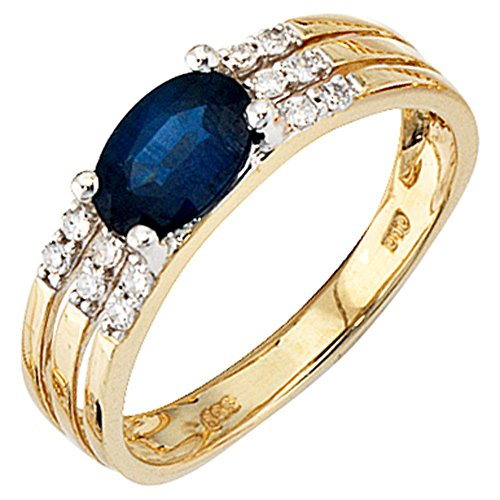 JOBO Damen Ring 585 Gold Gelbgold 1 blauer Safir 12 Diamanten Safirring Goldring Größe 56