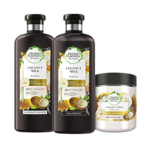 Herbal Essences Bio Renew Coconut Milk Shampoo,Conditioner and Hair Mask Set for Hydrating Hair