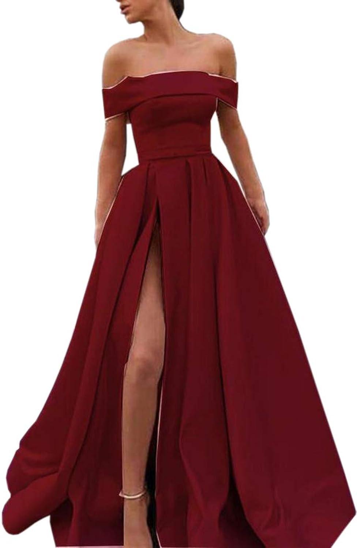 ONLYCE Off Shoulder High Split Satin Formal Evening Gowns Prom Dress Long