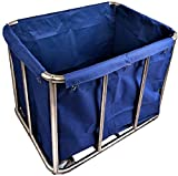 GBX Cesto de lavandería, de acero inoxidable de lavandería Cesto Clasificador de compras con la bolsa y las ruedas, de comercio y depósitos Carro para Lavandería, Hospital, la cesta de lavadero,Azul