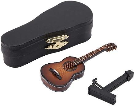 Modelo de Guitarra En Miniatura Pantalla de Instrumentos Musicales de Madera Con Soporte y Estuche Accesorios
