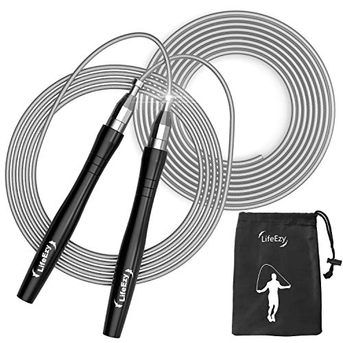 Jump Rope, High Speed Weighted Jump Rope - Premium Quality Tangle-Free - Self-Locking Screw-Free Design - Jump Ropes for Fitness - Rope Cable for Workout Fitness, Crossfit & Home Exercises