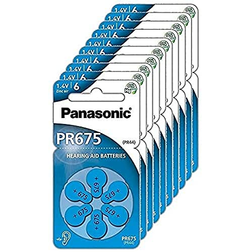 Panasonic PR675 Zink-Luft-Batterien für Hörgeräte, Typ 675, 1.4V, Hörgerätbatterien, 10 Packungen (60 Stück), blau