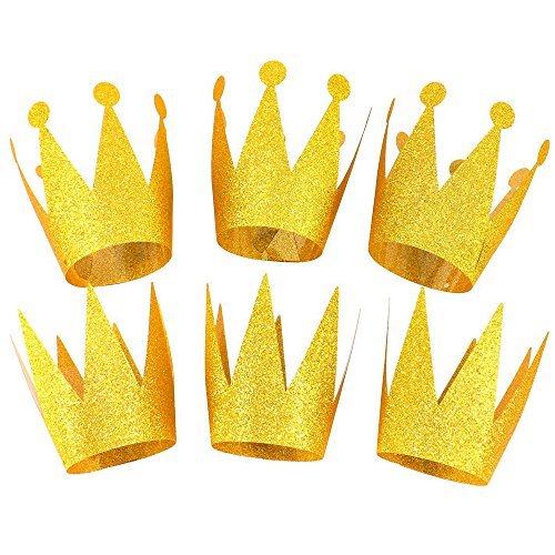Party Crowns Gold Glitter Party Crowns Birthday Decorations Party Hats for Kids, 6 pcs