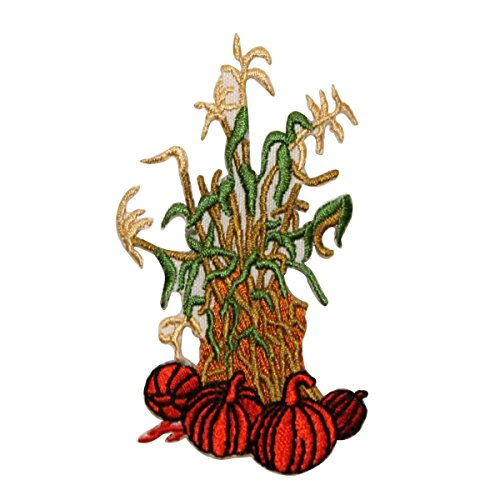 ID 1251 Pumpkins with Corn Stalks Patch Fall Harvest Embroidered IronOn Applique