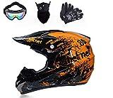 Casco de moto de cross con visera, gafas y guantes, casco de motocross, casco completo para bicicleta de montaña, casco de moto, para ATV Downhill (naranja, L (58 cm - 59 cm)
