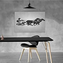 Xlcsomf Modern Oil Painting Toga Party Business Gift Mythological Chariot Gladiator with Horse Traditional Greek Culture Image W35 x L31 Dimgrey Black