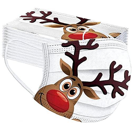 Obelunrp Máscara Infantil Mascarillas de la Navidad Cara de Navidad Cara de los niños Bandana Cubierta desechable Paño no Tejido con Elastic Tarraop para la decoración navideña Boys 50pcs