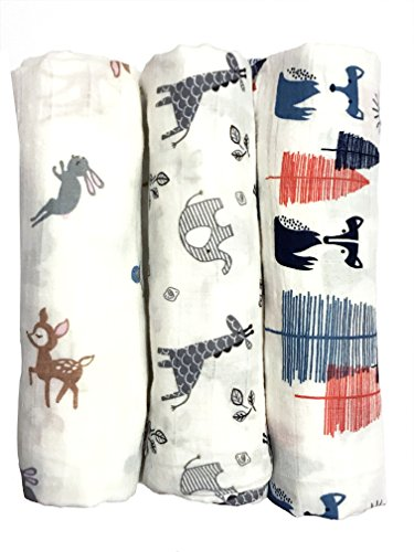swaddle blankets by elifantbaby Cotton Muslin Swaddle Blankets of 3\