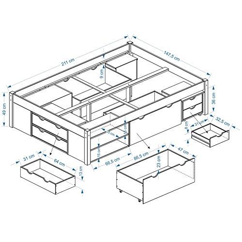 Funktionsbett Jugendbett Doppelbett SABRINA Kiefer massiv natur lackiert Liegefläche 140 x 200 cm (B x L) - 4